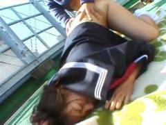 Chubby Misa Kashigawi to have the banana peeleded outdoors